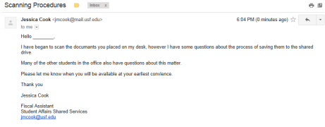 An issue where e-mail is an appropriate medium.